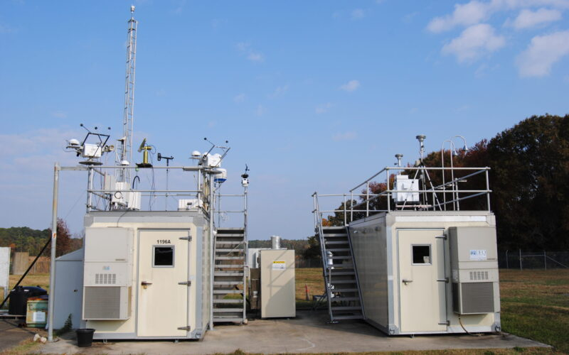 CAPABLE/CRAVE Full Site Photo from left to right site enclosures: 1196A NASA LaRC, MPLnet, Virginia DEQ